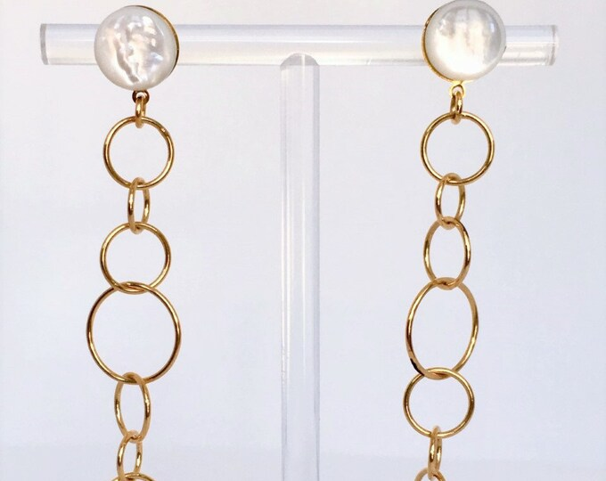 Mother of pearl long golden Bubble earrings