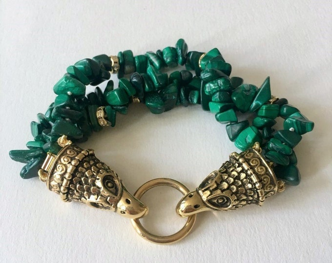 Malachite cuff bracelet, with eagle clasp