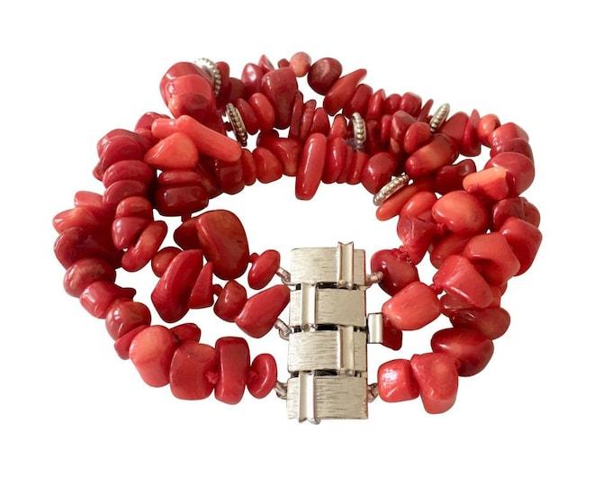 Bamboo coral stone cuff bracelet