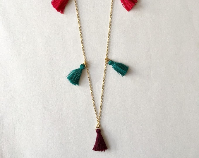 Tassel necklace, Golden necklace and burgundy, pink and green tassels