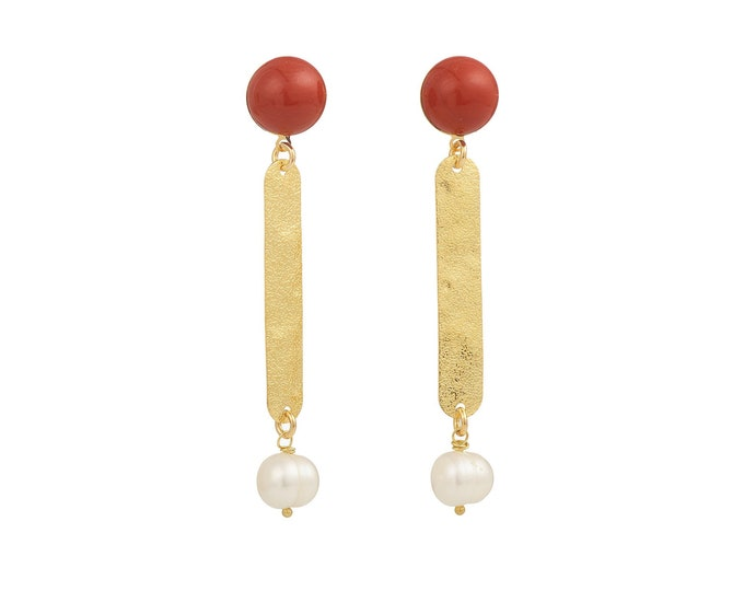 Cleo jasper and white pearl earrings