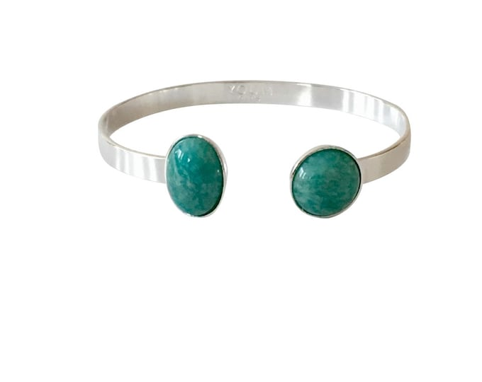 Silver brass bracelet and Amazon semi precious stone