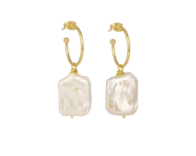 Hoop earrings Jane and natural white pearl square