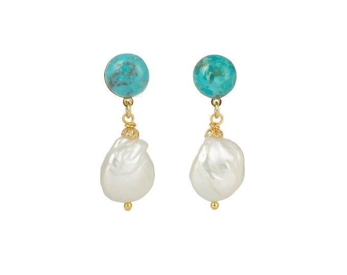 Turquoise and white pearls earrings Pernille