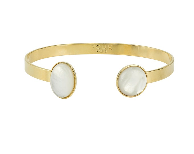 Gemstone bracelet, bangle bracelet with a 24 karat gold finish and mother of pearl natural stone