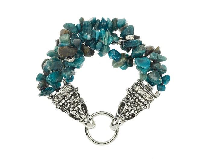 Silver stone cuff, apatite gemstone