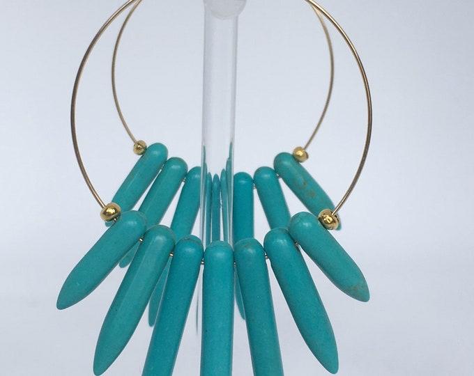 Turquoise hoop earrings, Gold filled 14k hoops and gemstone Howlite Turquoise, Gold earrings