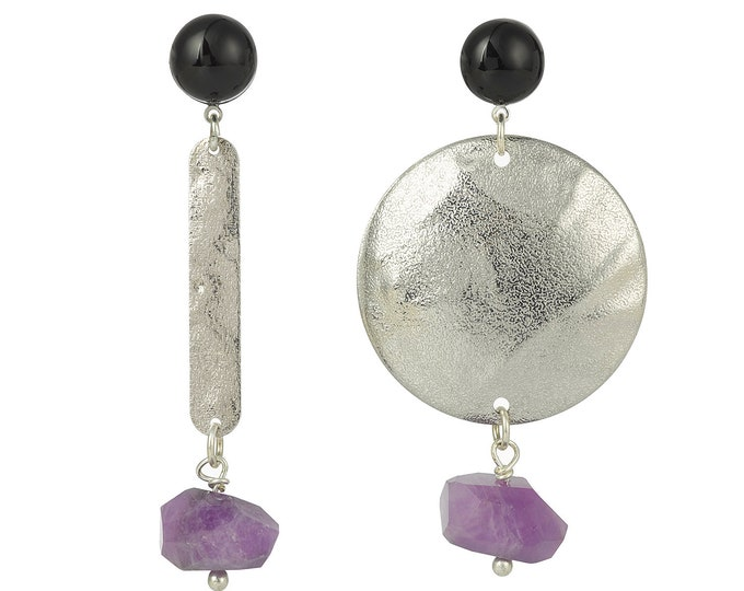 Asymetrical drop earrings with amethyst and black agate gemstones
