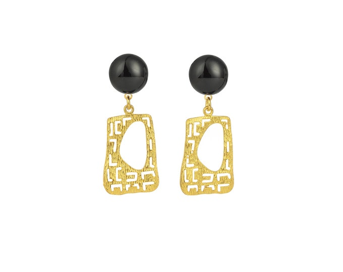 Gustave golden and black agate earrings