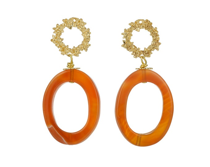 Greta carnelian gold earrings