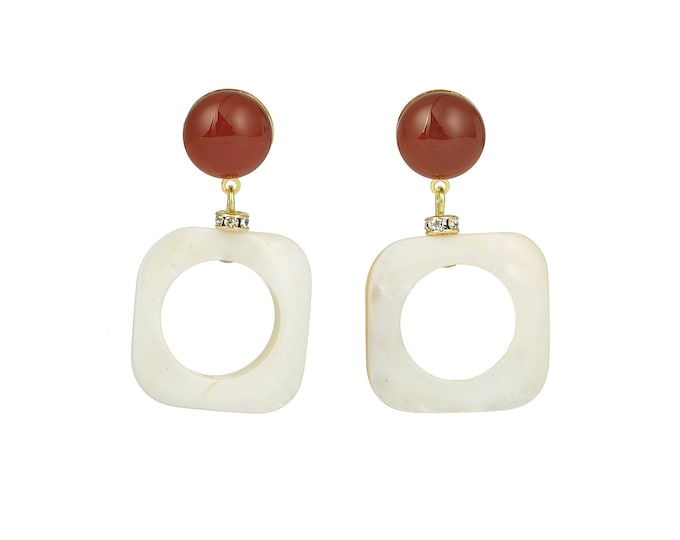 Mother of pearl Square drop earrings