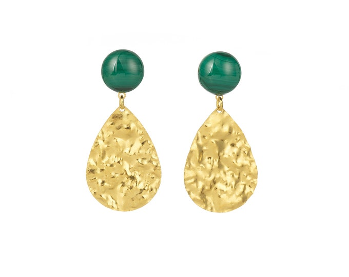 Malachite golden earrings Marine