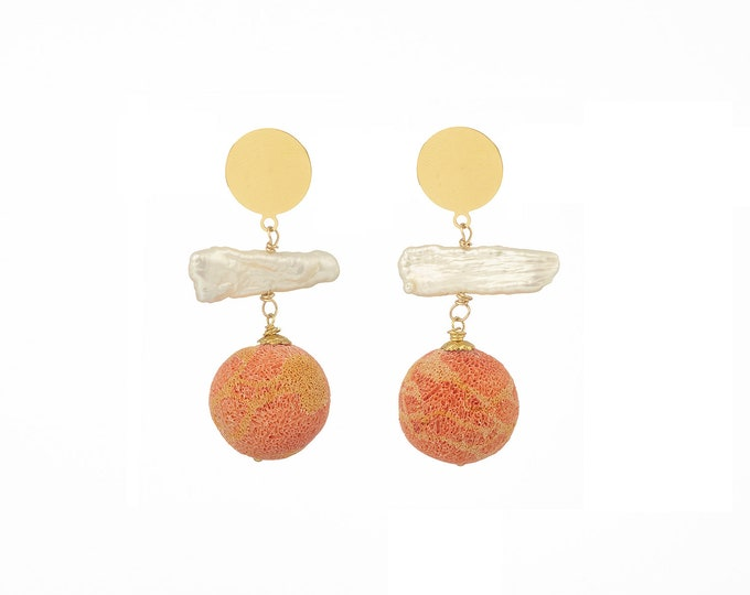 Coral and white pearl Moana earrings