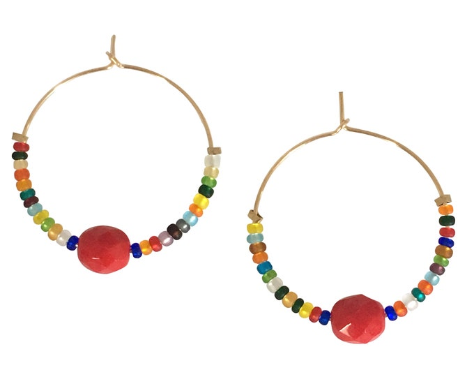 Gold filled earrings and coral bead