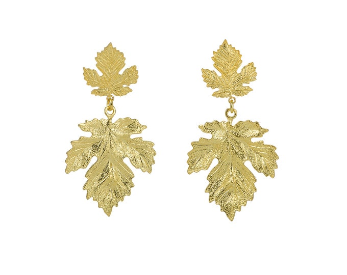 Xylia leaf gold drop earrings