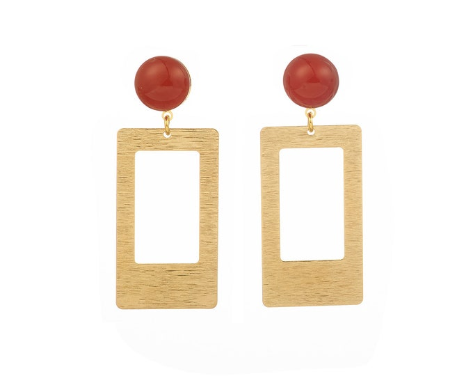 Victor rectangle earrings and carnelian stone