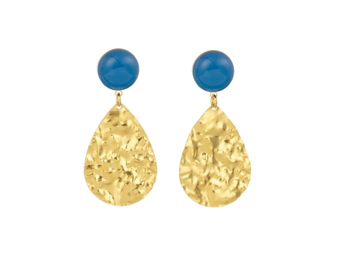 Golden earrings Marine with blue agate stone