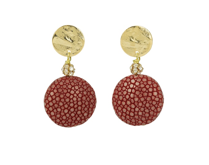 Stingray gold and pink Gala earrings