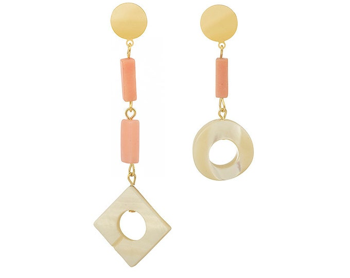 Asymmetrical mother of pearl and opale stones Faustine earrings