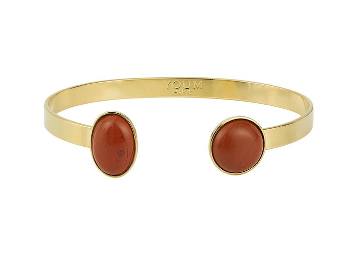 24 carat golden cuff and Jasper stones