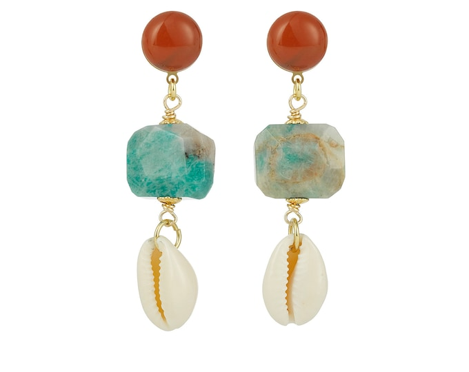 Riviera cowrie shell and amazonite earrings