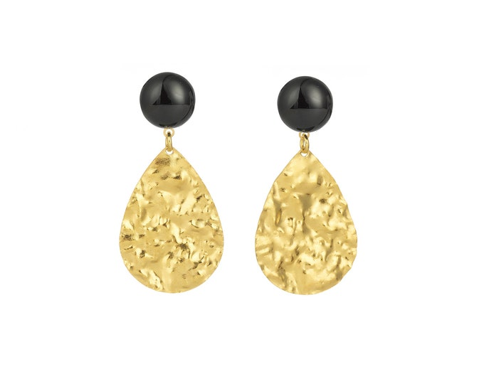 Golden Marine drop earrings and black agate stone