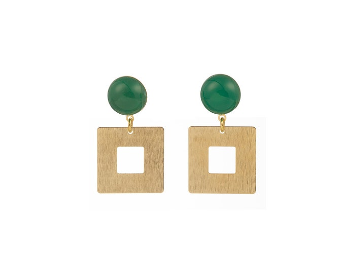 Claude square earrings and green agate