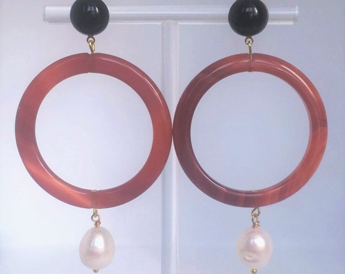 Carnelian statement earrings Cornaline XL