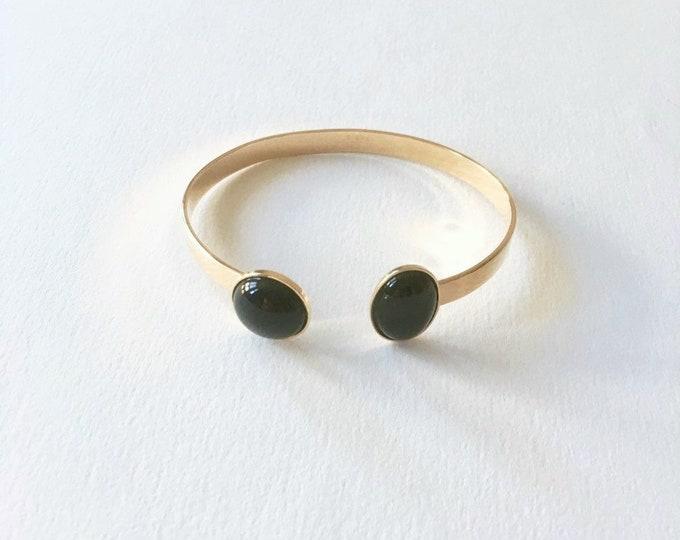 24 karats gilded gold bracelet and black agate gemstone