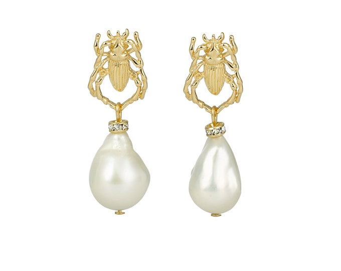 Audrey drop earrings, bee and white pearl