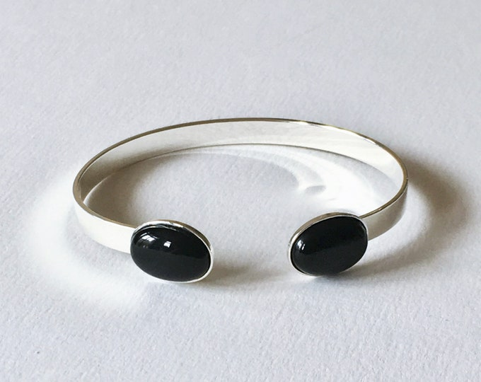 Silver open cuff bracelet and black agate semiprecious stone