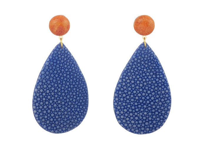 Ondine blue stingray earrings and coral stone