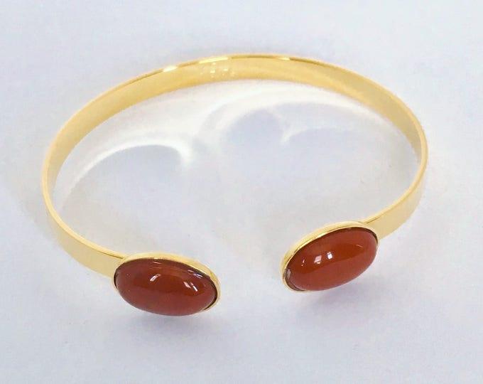 24 karat golden cuff and Jasper gemstones