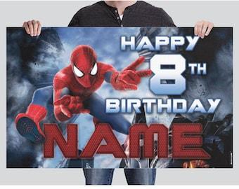 BANNER - Spiderman Birthday Banner