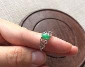 Grade A natural untreated bright emerald green Myanmar jadeite Burmese jade ring 925 silver size adjustable