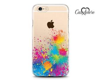 Paint Splash, iPhone XS, iPhone XS Max case, iPhone 11 case, Clear Rubber cases, iPhone 7 case, iPhone 8 Plus case clear, Galaxy S10 case
