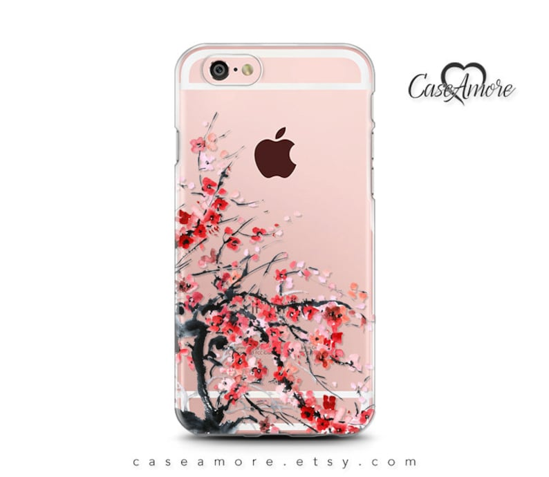 huge selection of fe68a 3f926 iPhone Xs Max case, Clear Rubber case, iPhone X case, iPhone 8 case, iPhone  7 case, iPhone 7 Plus case, Galaxy S8 case, cherry blossom
