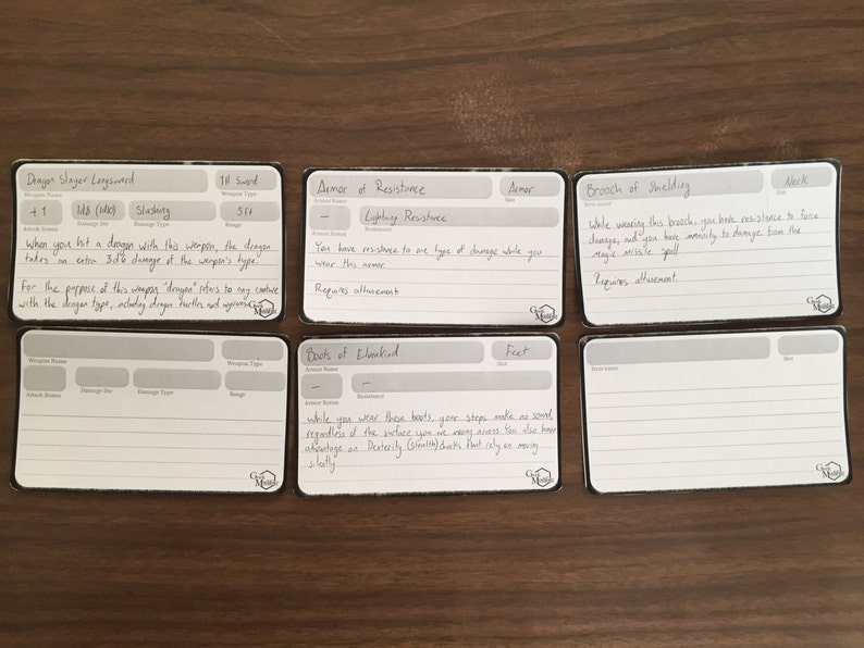 RPG Magic Item/Weapon/Armor Cards
