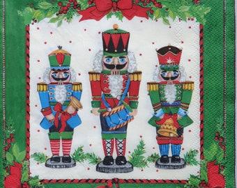 4 x Christmas Nutcrackers Paper Napkins Serviettes Craft Supplies Decoupage NEW