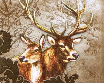 20x Lunch Paper Napkins Serviettes Party Fellow Deer in Winter