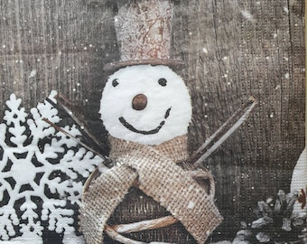 4 Single Paper Napkins for Decoupage Frosty Snowman Winter Christmas