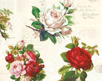 4x Designer PAPER NAPKINS for Decoupage ROSE TWIGS LEAVES AND FLOWERS