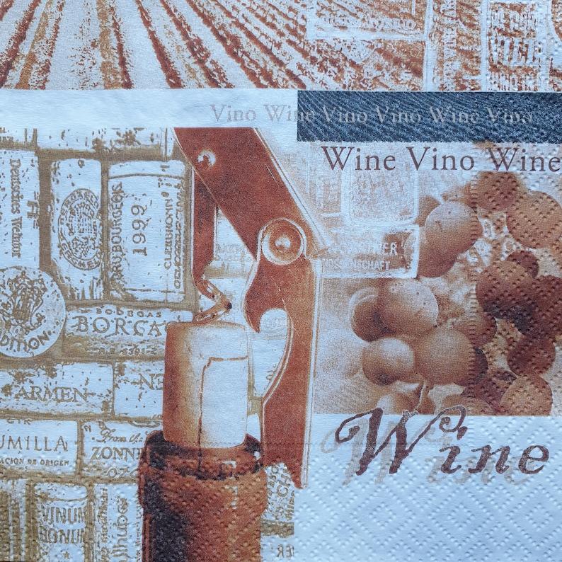 4 Premium Quality Paper Napkins Serviettes Aged Wine Napkins Vintage Design New