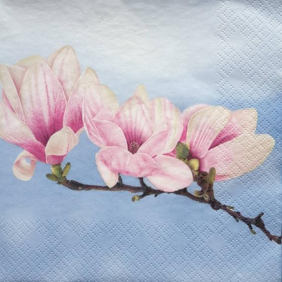 Lunch 4 Single Vintage Paper Napkins Decopatch Magnolias for Decoupage Party