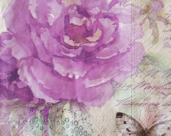 4 x single paper napkins - decoupage napkins- Purple Roses- Vintage style- Beautiful napkins- Scrap booking paper - Collage - Art - 33 x 33