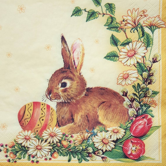 4 Lunch Paper Napkins for Decoupage Party Table Vintage Easter Bunny Rabbit