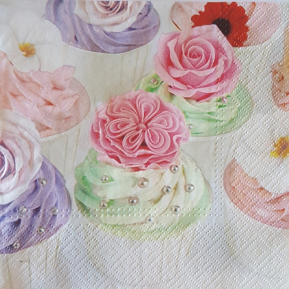 Muffins for Decoupage 4 Single Vintage Table Paper Napkins Lunch Decopatch