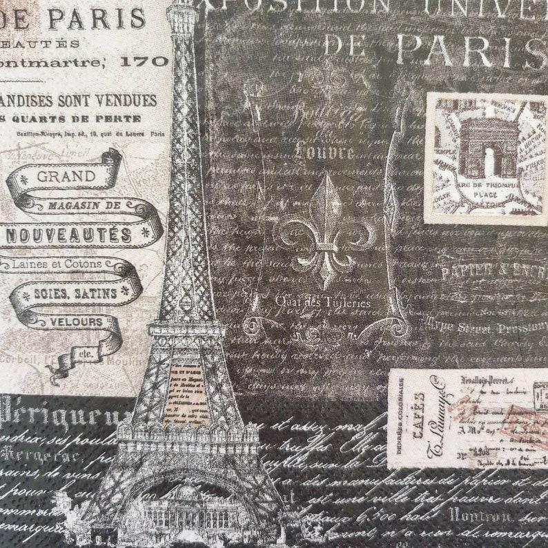 for Party 4x Paper Napkins Decoupage Craft Vintage Paris Eiffel Tower