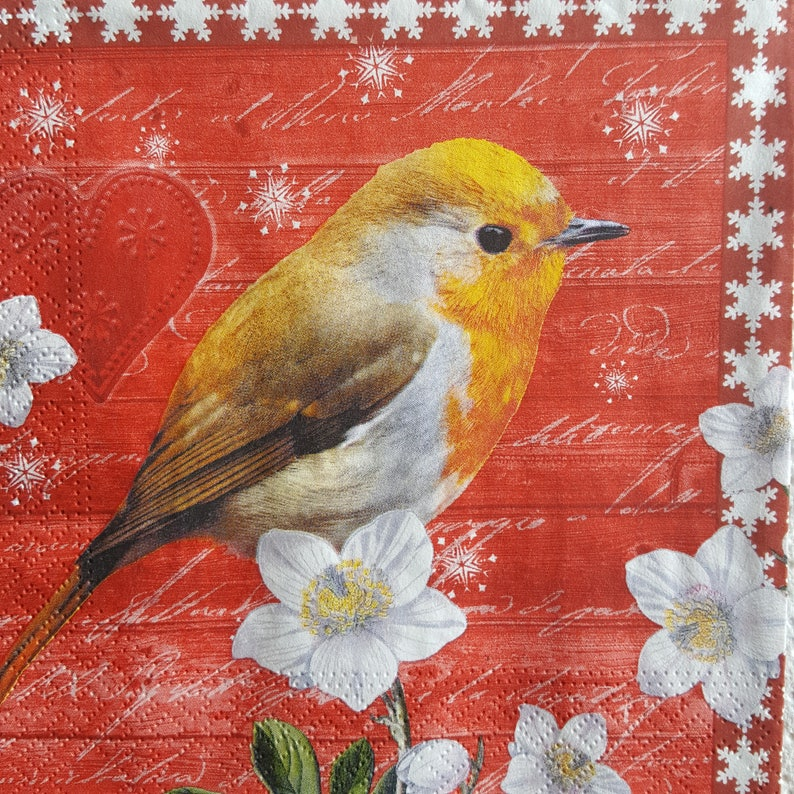 4 Lunch Paper Napkins for Decoupage Craft Vintage Napkin Art Xmas Birds