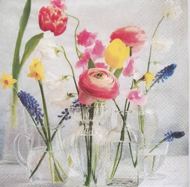 4 Floral Paper Napkins Serviettes Decoupage Napkins JOURNALING Craft Supplies
